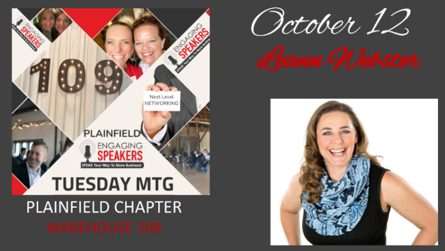 OCTOBER PLAINFIELD CHAPTER - Tuesday 12th - Warehouse 109